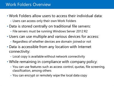Work Folders store