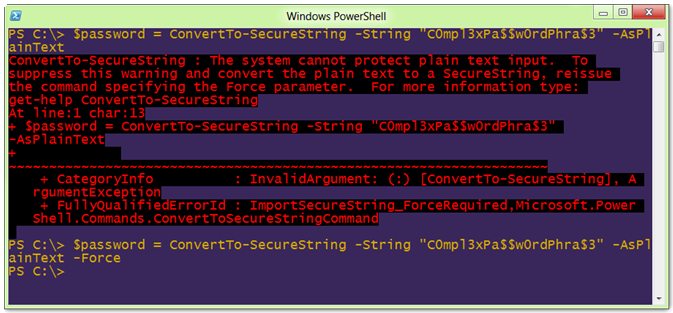 Windows PowerShell ConverTo-SecureString